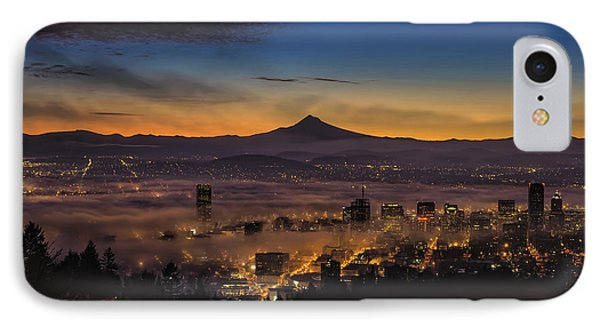 Fog Rolling In At Dawn Over The City Of Portland IPhone Case