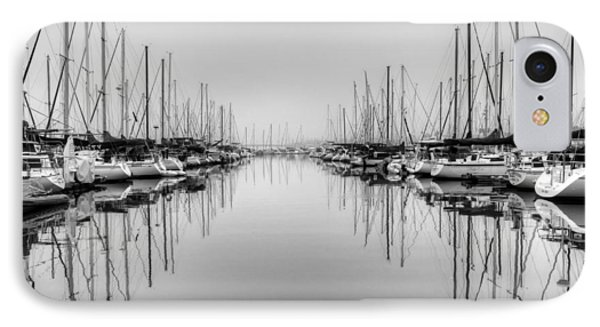 IPhone Case featuring the photograph Foggy Autumn Morning - Black And White by Heidi Smith