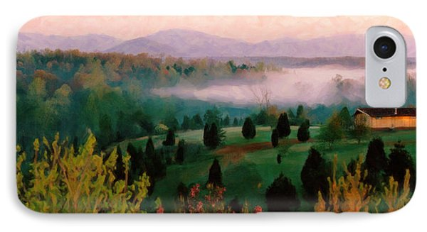 IPhone Case featuring the digital art Foggy Blue Ridge Morning by Spyder Webb
