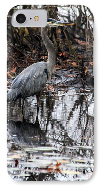 IPhone Case featuring the photograph Foggy Bog Heron by Kenny Glotfelty