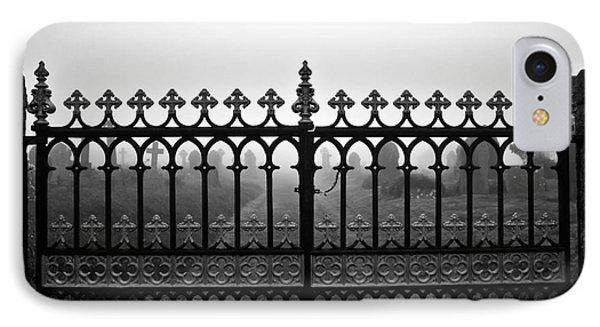 Foggy Grave Yard Gates Phone Case by Terri Waters