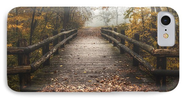 Foggy Lake Park Footbridge IPhone Case by Scott Norris