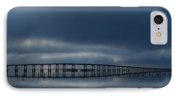 IPhone Case featuring the photograph Foggy Mirrored Navarre Bridge At Sunrise by Jeff at JSJ Photography