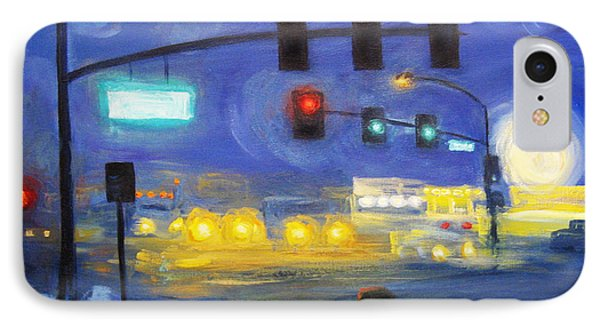 IPhone Case featuring the painting Foggy Morning Traffic by Cheryl Del Toro