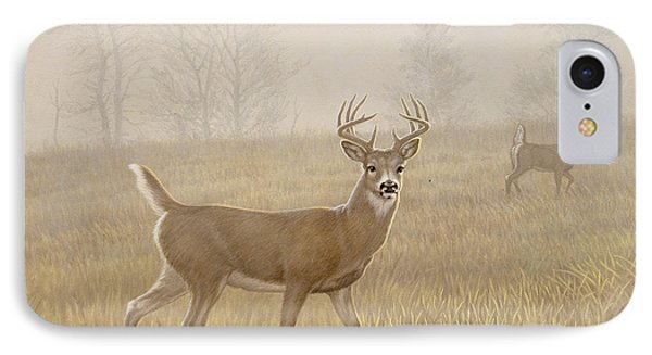 Foggy Morning-whitetail IPhone Case by Paul Krapf