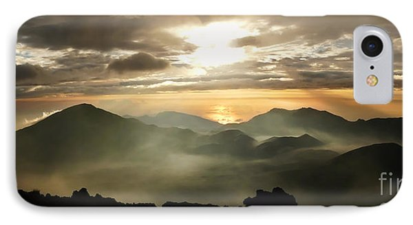 Foggy Sunrise Over Haleakala Crater On Maui Island In Hawaii IPhone Case by IPics Photography