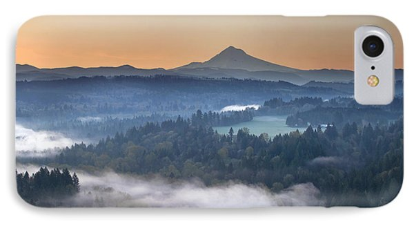 IPhone Case featuring the photograph Foggy Sunrise Over Sandy River And Mount Hood by JPLDesigns