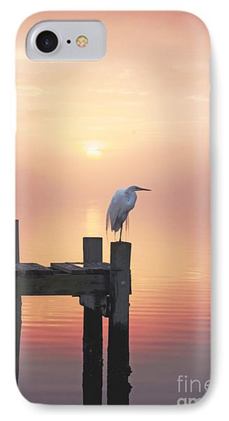 Foggy Sunset On Egret Phone Case by Benanne Stiens