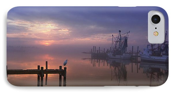 Foggy Sunset Over Swansboro Phone Case by Benanne Stiens