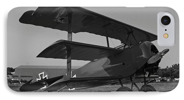 IPhone Case featuring the photograph Fokker Dr1477 Triplane Bw by Timothy McIntyre