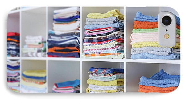 Folded Towels On Shelves IPhone Case