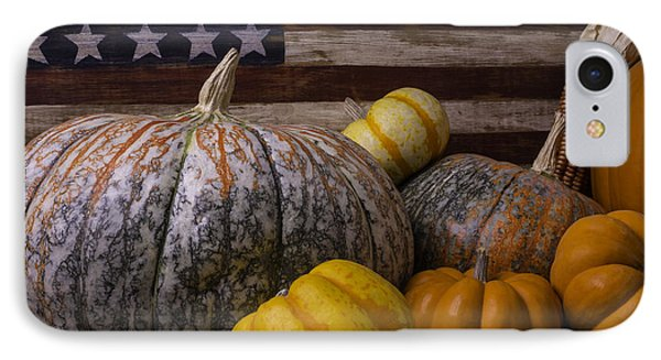 Folk Art Flag And Pumpkins IPhone Case by Garry Gay