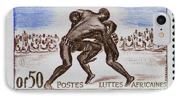 Folk Wrestling Vintage Postage Stamp Print IPhone Case by Andy Prendy