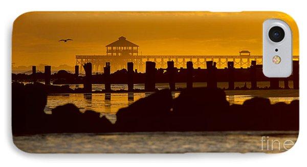Folly Beach Pier Sunset IPhone Case by Dustin K Ryan