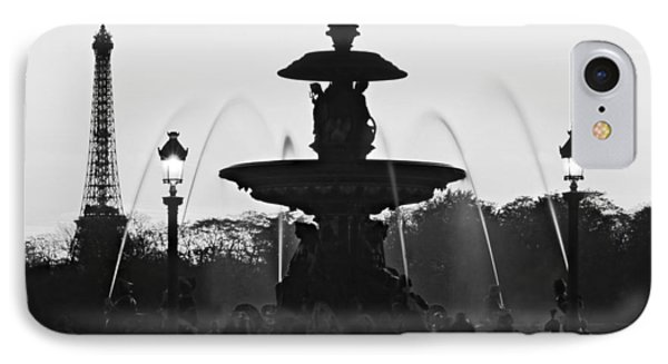 Fontaine De La Concorde Silhouette - Paris IPhone Case by Barry O Carroll