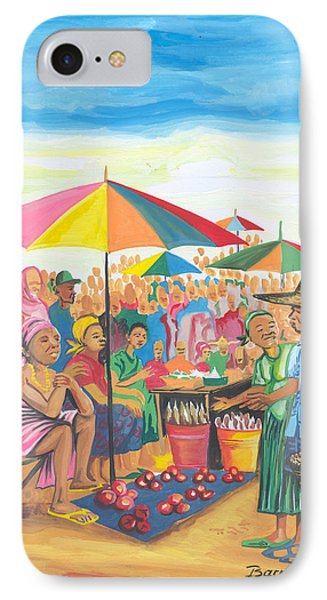 IPhone Case featuring the painting Food Market In Cameroon by Emmanuel Baliyanga