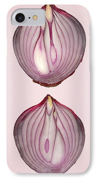 Food - Vegetable - Cross Section Of A Red Onion IPhone Case by Mike Savad