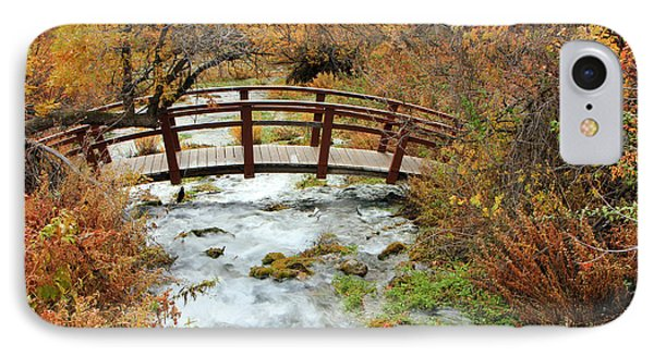 Foot Bridge At Cascade Springs. IPhone Case by Johnny Adolphson