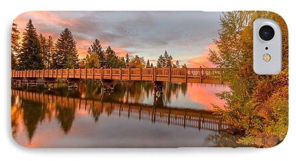 Foot Bridge Over Mirror Pond IPhone Case by John Williams