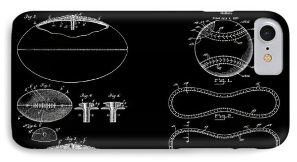 Football Baseball Patent Drawing IPhone Case by Dan Sproul