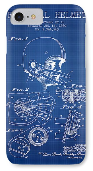 Football Helmet Patent From 1960 - Blueprint IPhone Case by Aged Pixel