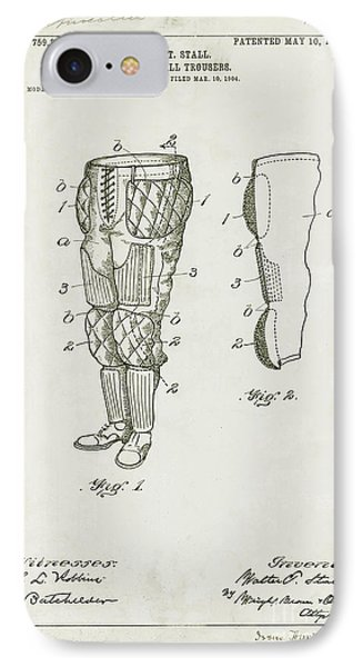 Football Pants Patent Drawing IPhone Case by Jon Neidert