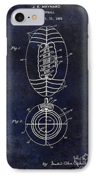 1925 Football Patent Drawing Blue IPhone Case by Jon Neidert