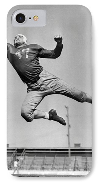 Football Player Catching Pass IPhone Case by Underwood Archives