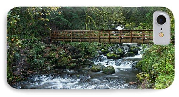 Footbridge Across Oneonta Creek IPhone Case by William Sutton