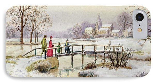 Footbridge In Winter Phone Case by Stanley Cooke