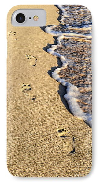 Beach iPhone 7 Case - Footprints On Beach by Elena Elisseeva
