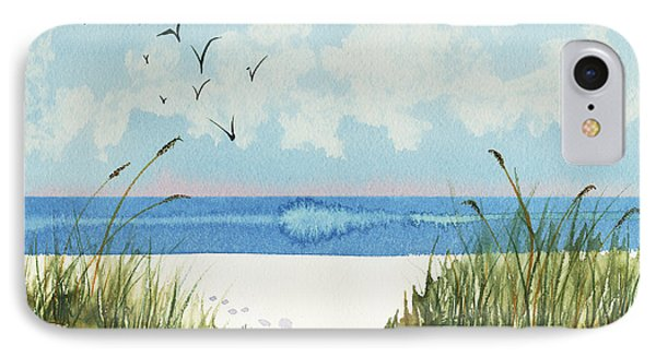 IPhone Case featuring the painting Footprints On The Beach by Nan Wright