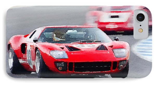 Ford Gt40 Race In Monterey Watercolor IPhone Case by Naxart Studio