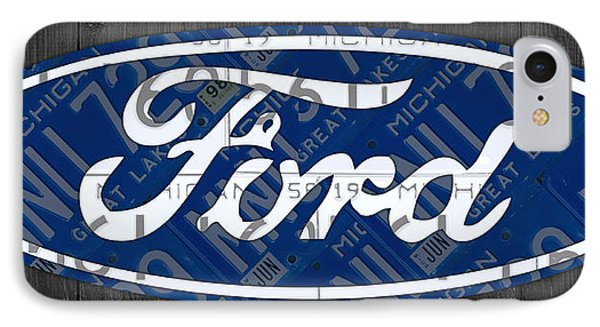 Ford Motor Company Retro Logo License Plate Art IPhone Case by Design Turnpike
