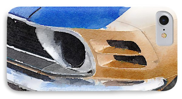 Ford Mustang Front Detail Watercolor IPhone Case by Naxart Studio