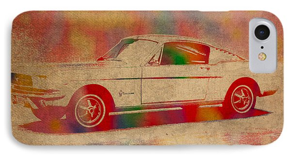 Ford Mustang Watercolor Portrait On Worn Distressed Canvas Phone Case by Design Turnpike