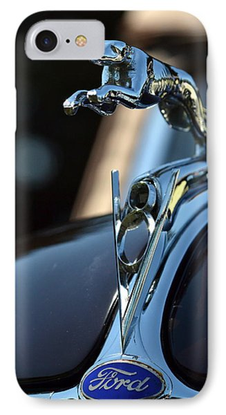 IPhone Case featuring the photograph Ford V-8 Hood Ornemant by Dean Ferreira
