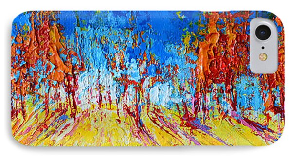 Tree Forest 1 Modern Impressionist Landscape Painting Palette Knife Work IPhone Case by Patricia Awapara