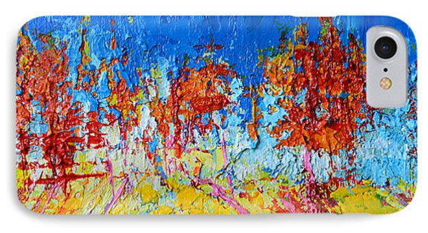 Tree Forest 3 Modern Impressionist Landscape Painting Palette Knife Work IPhone Case by Patricia Awapara