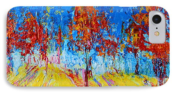 Tree Forest 4 Modern Impressionist Landscape Painting Palette Knife Work IPhone Case by Patricia Awapara