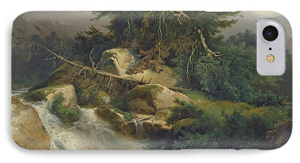 Forest Landscape With Waterfall  IPhone Case by Julius Bakof