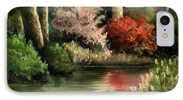 IPhone Case featuring the painting Forest Pond by Mikhail Savchenko