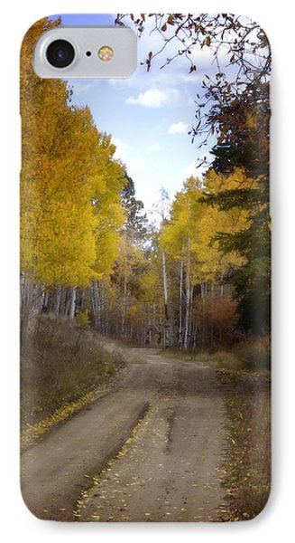 Forest Road In Autumn Phone Case by Ellen Heaverlo