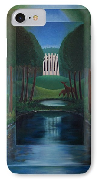 IPhone Case featuring the painting Forest Temple by Tone Aanderaa