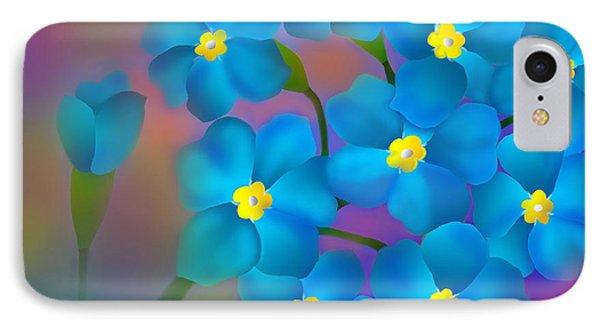 IPhone Case featuring the digital art Forget- Me -not Flowers by Latha Gokuldas Panicker