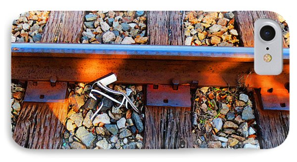 Forgotten - Abandoned Shoe On Railroad Tracks Phone Case by Sharon Cummings