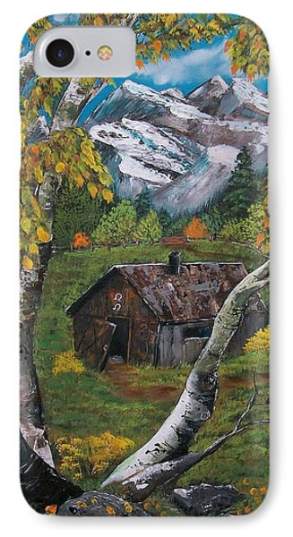 IPhone Case featuring the painting Forgotten Cabin  by Sharon Duguay