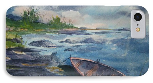 IPhone Case featuring the painting Forgotten Rowboat by Ellen Levinson