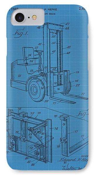 Forklift Blueprint Patent IPhone Case by Dan Sproul
