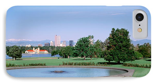 Formal Garden In City Park With City IPhone Case by Panoramic Images